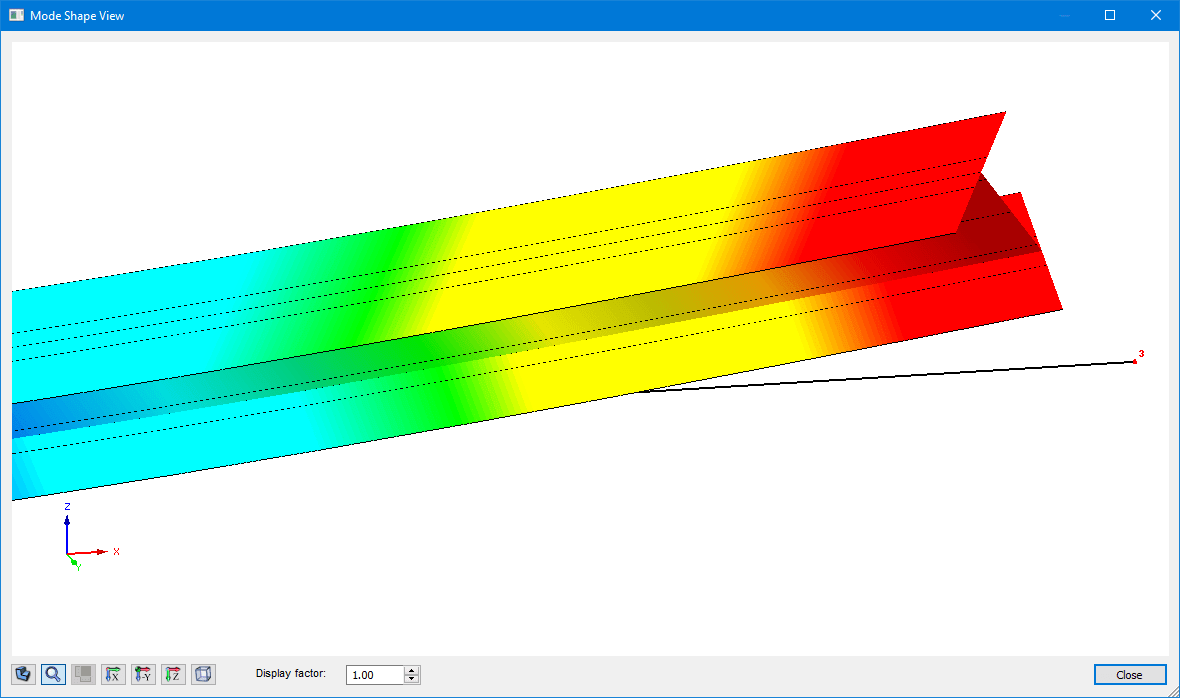 Mode shape view with cross-section warping in RF-/STEEL EC3