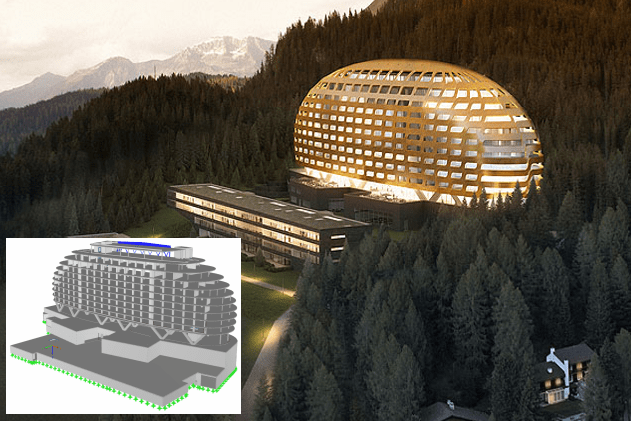 Hotel in Davos, Switzerland, analyzed in RFEM (© www.ssp-muc.com)