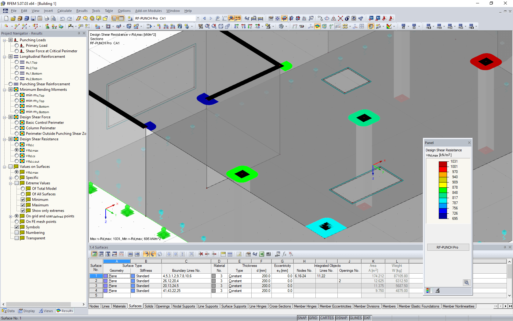 Results of punching shear design on wall ends and corners as well as columns in graphic window of RFEM