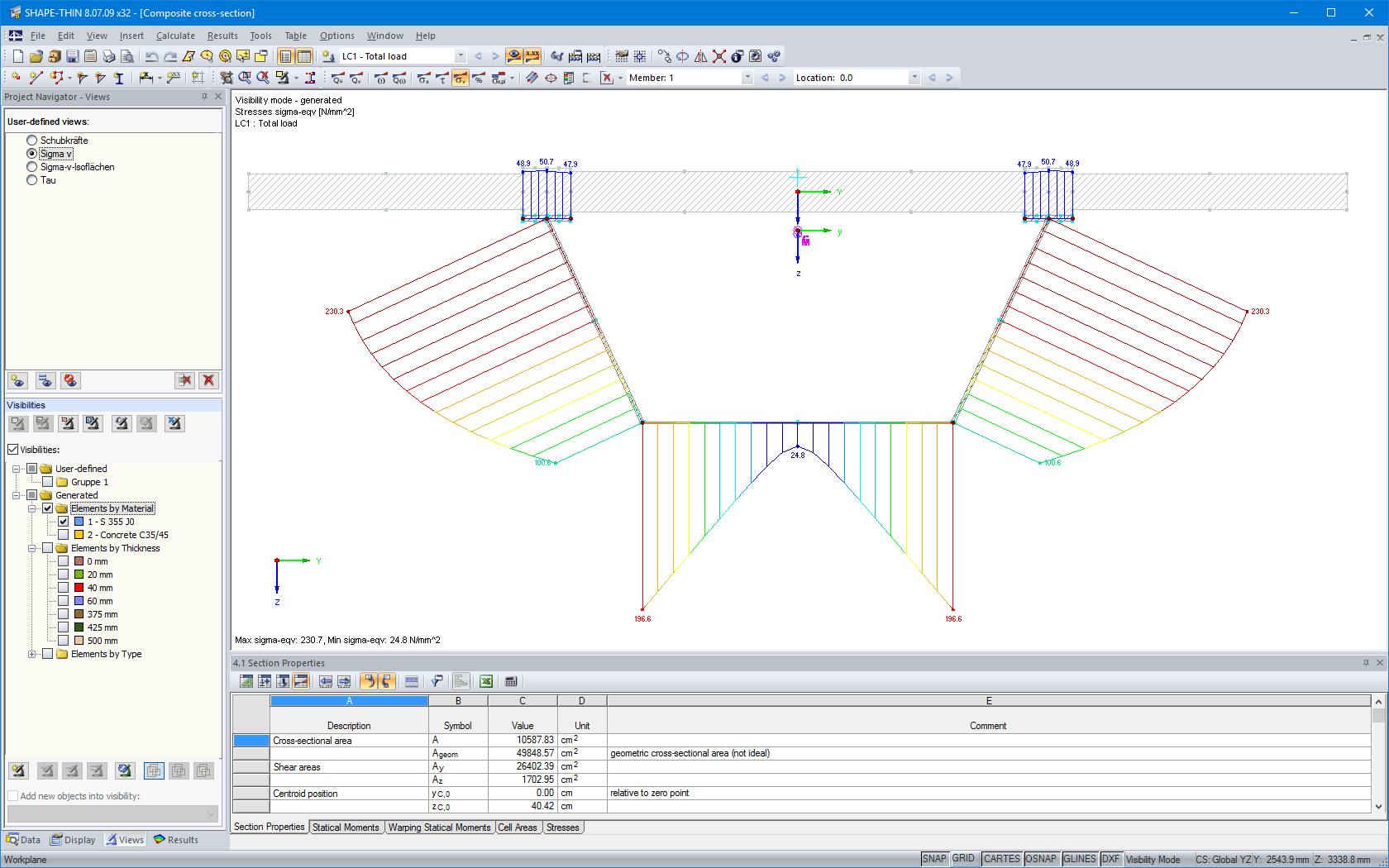 New graphical user interface of SHAPE-THIN 8 adjusted to RFEM/RSTAB