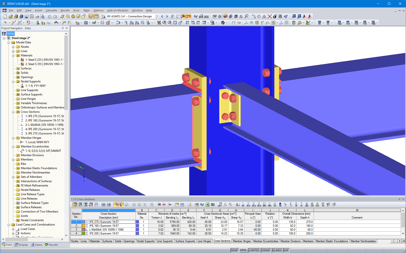 Rigid and hinged beam connections visualized in RFEM model