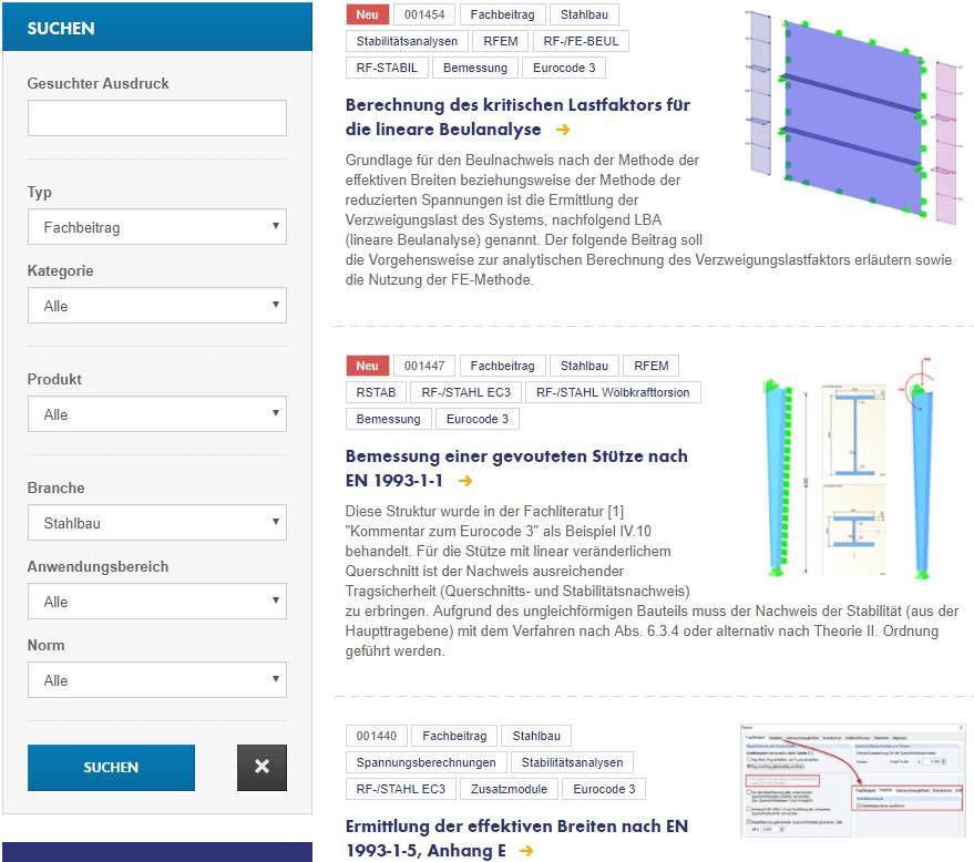 """272687518 Fachbeiträge zum Thema """"Stahlbau"""" auf der Dlubal-Webseite """"Knowledge Base"""""""