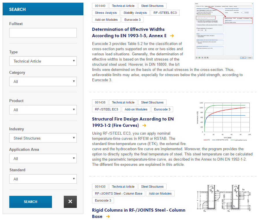 "Technical articles about ""Steel Structures"" on the ""Knowledge Base"" page of the Dlubal Software website"