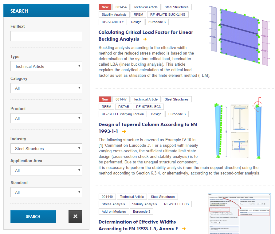 Technical articles about 'Steel Structures' on the 'Knowledge Base' page of the Dlubal Software website