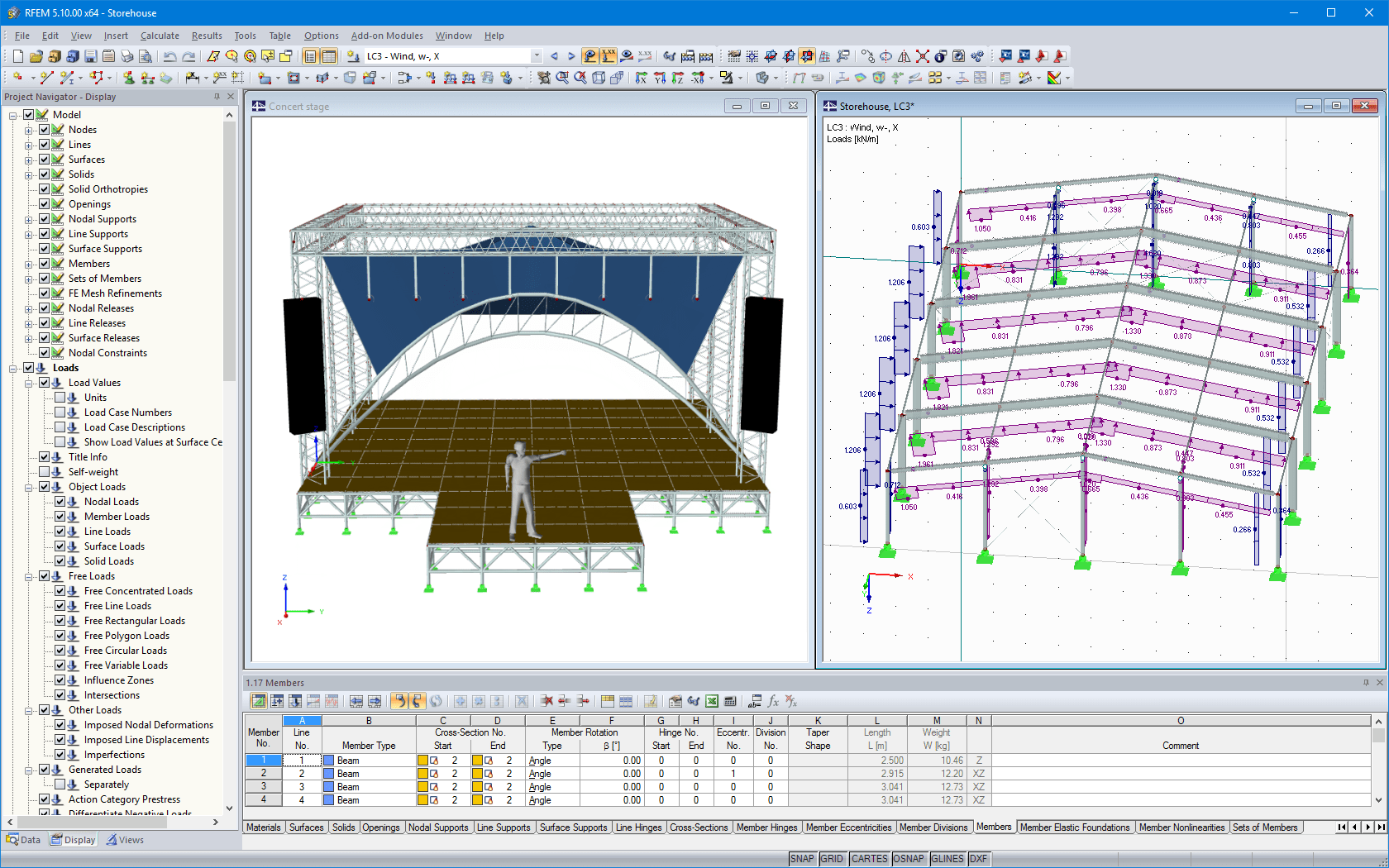 Concert stage and aluminium hall in RFEM