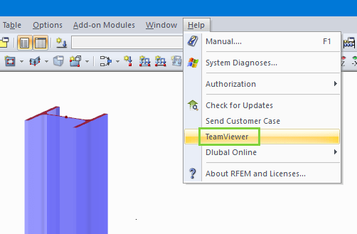 Link to TeamViewer in Help Menu of RFEM and RSTAB