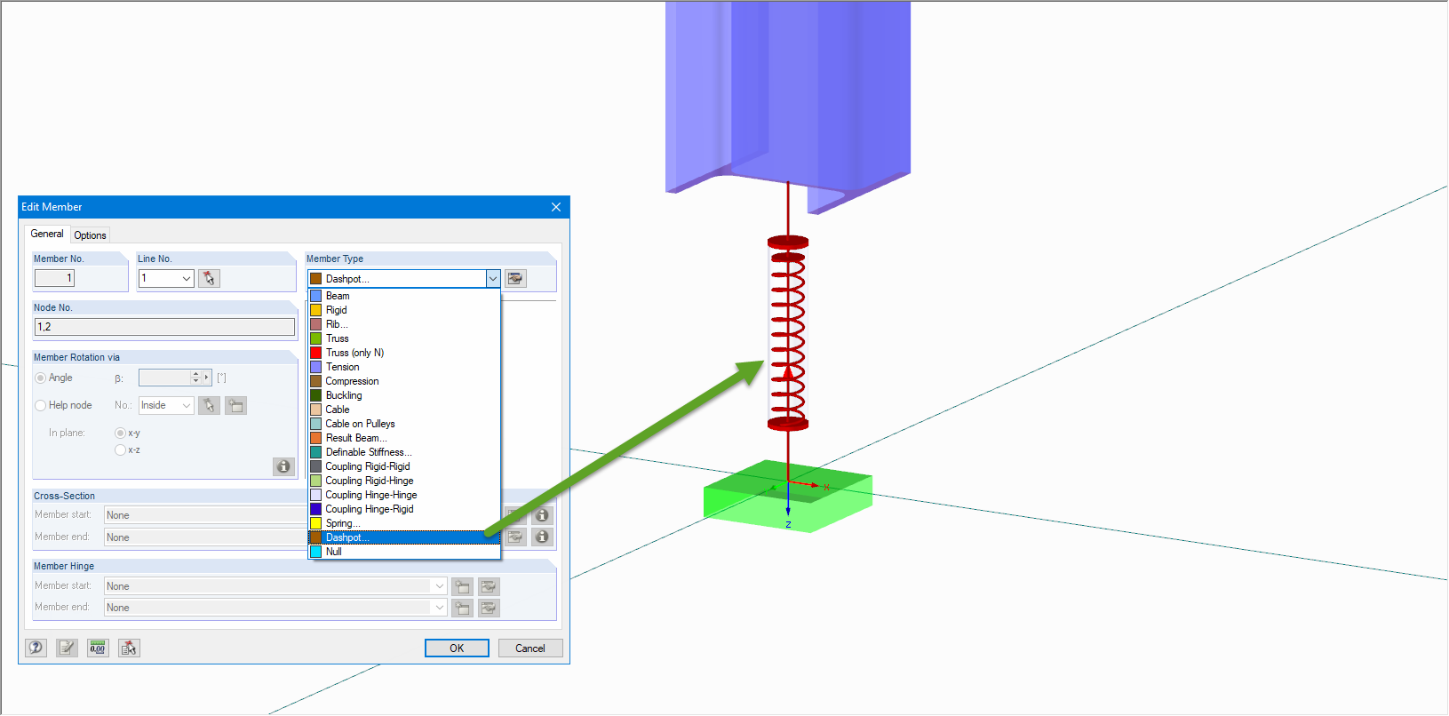 "New Member Type ""Dashpot"" in RFEM"