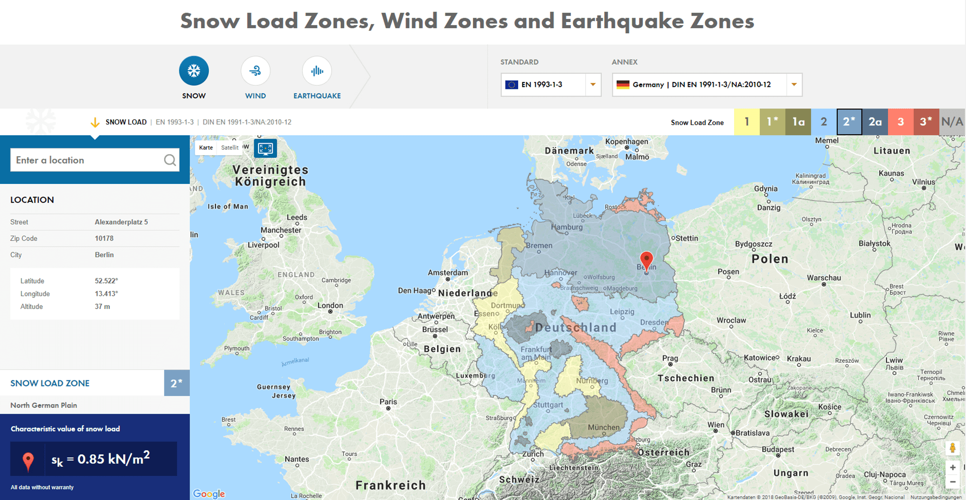 Snow load zone map on Dlubal website