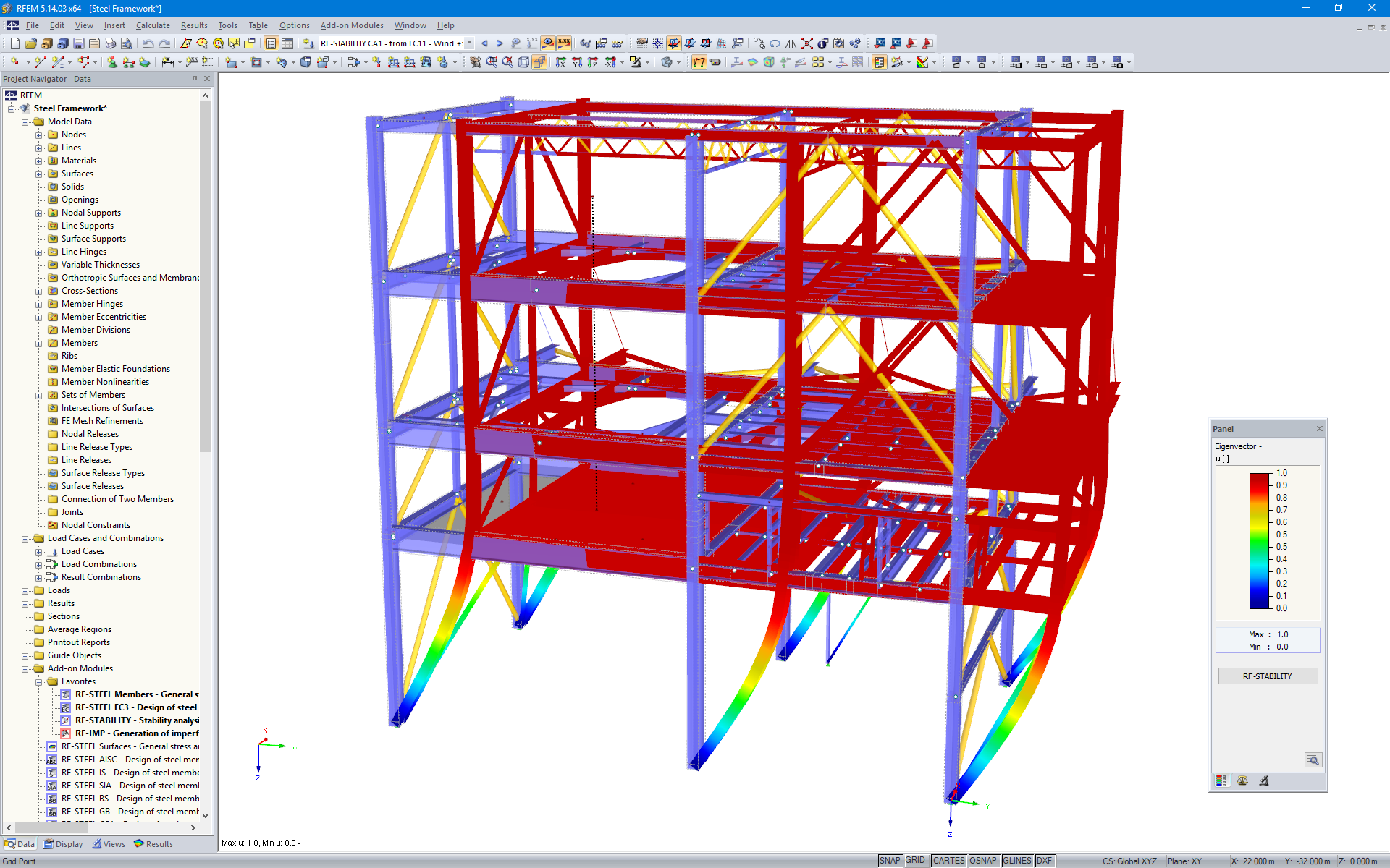 Graphical Representation of a Steel Framework's Buckling Mode Shape in RFEM