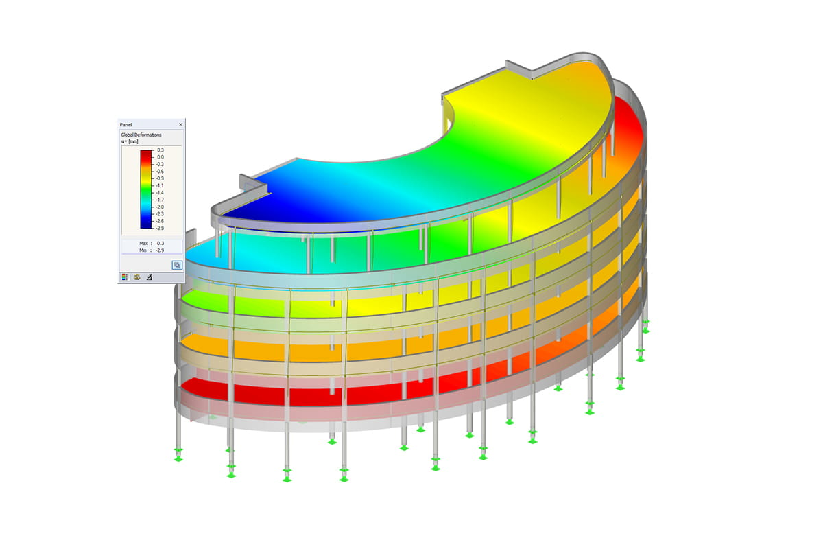 RFEM structural model with result diagram