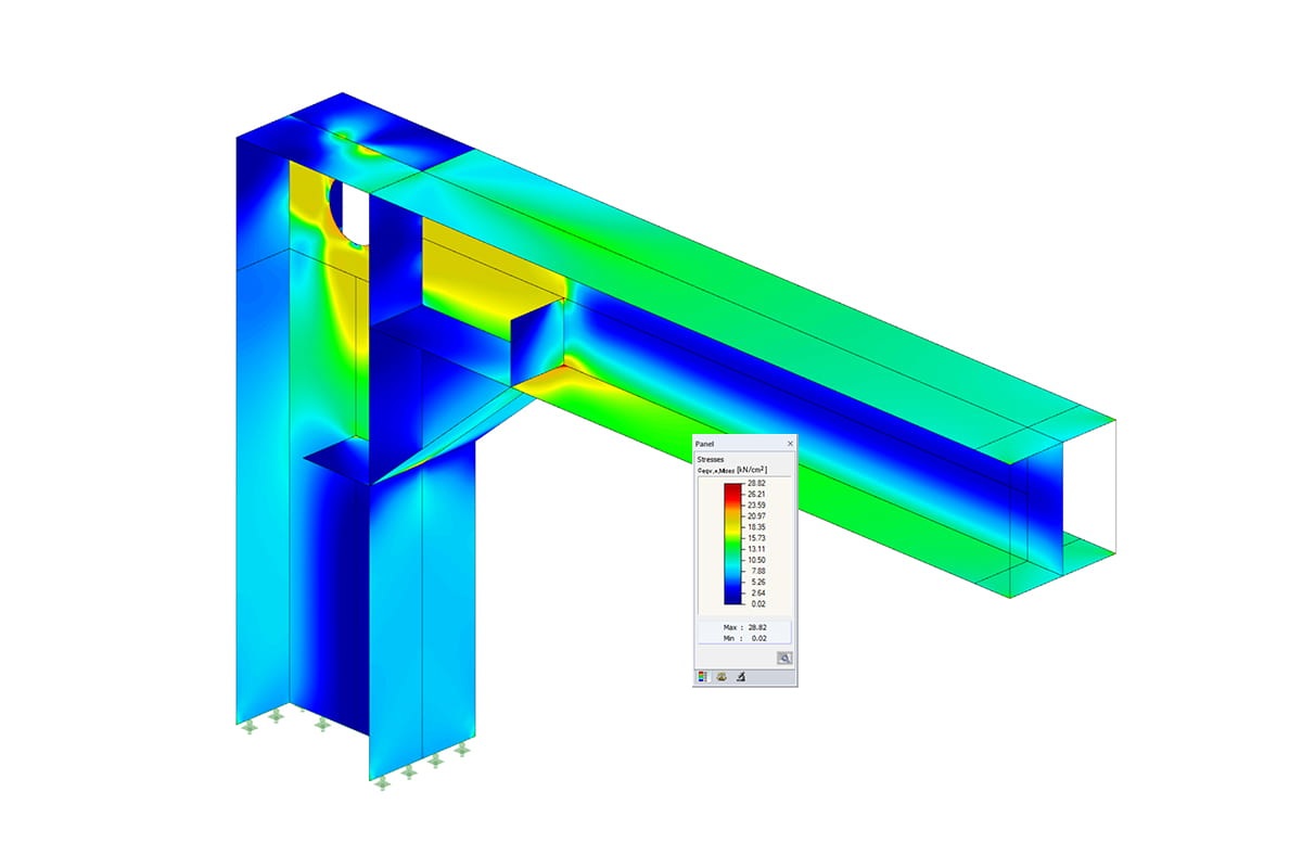 Steel stress analysis of frame joint