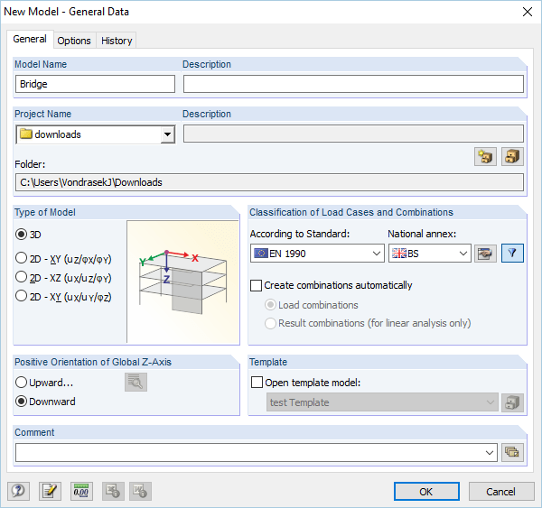 Dialog Box 'New Model - General Data'