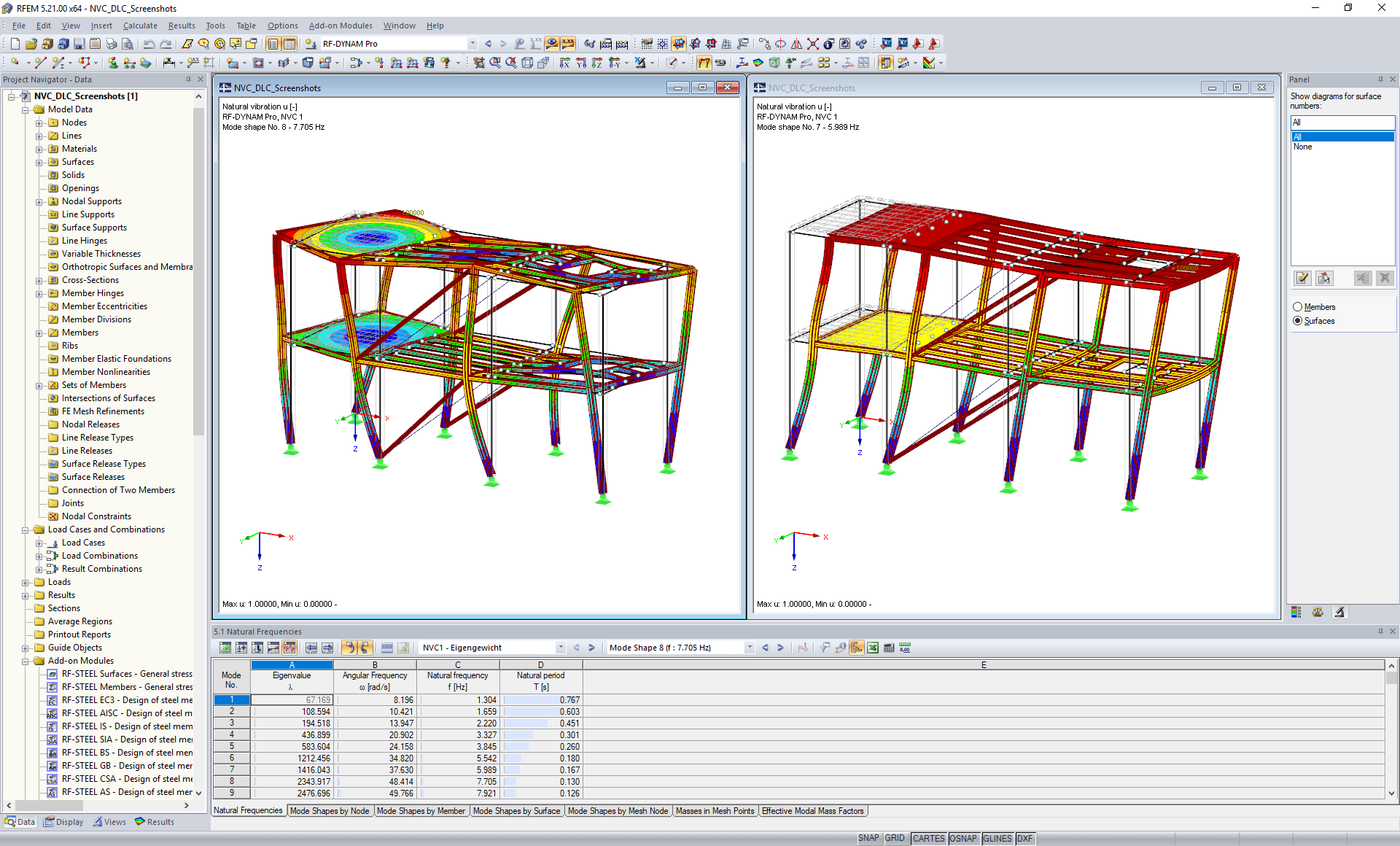 Modal Analysis in RFEM - Tabular and Graphical Evaluation