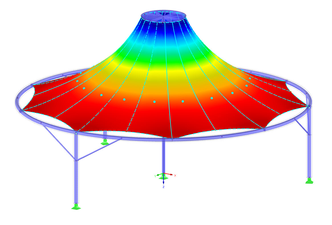 Form-Finding and Cutting Patterns of Membrane Structures in RFEM