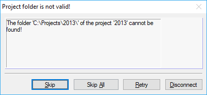 "Error Message ""Project folder is not valid!"""