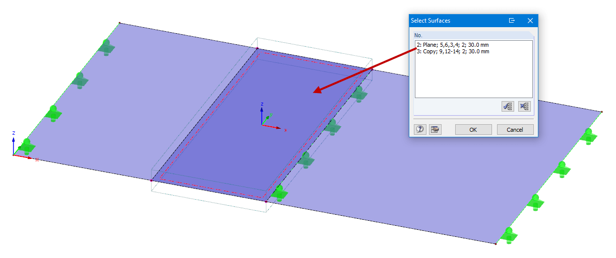 Overlapping surfaces released by a surface release