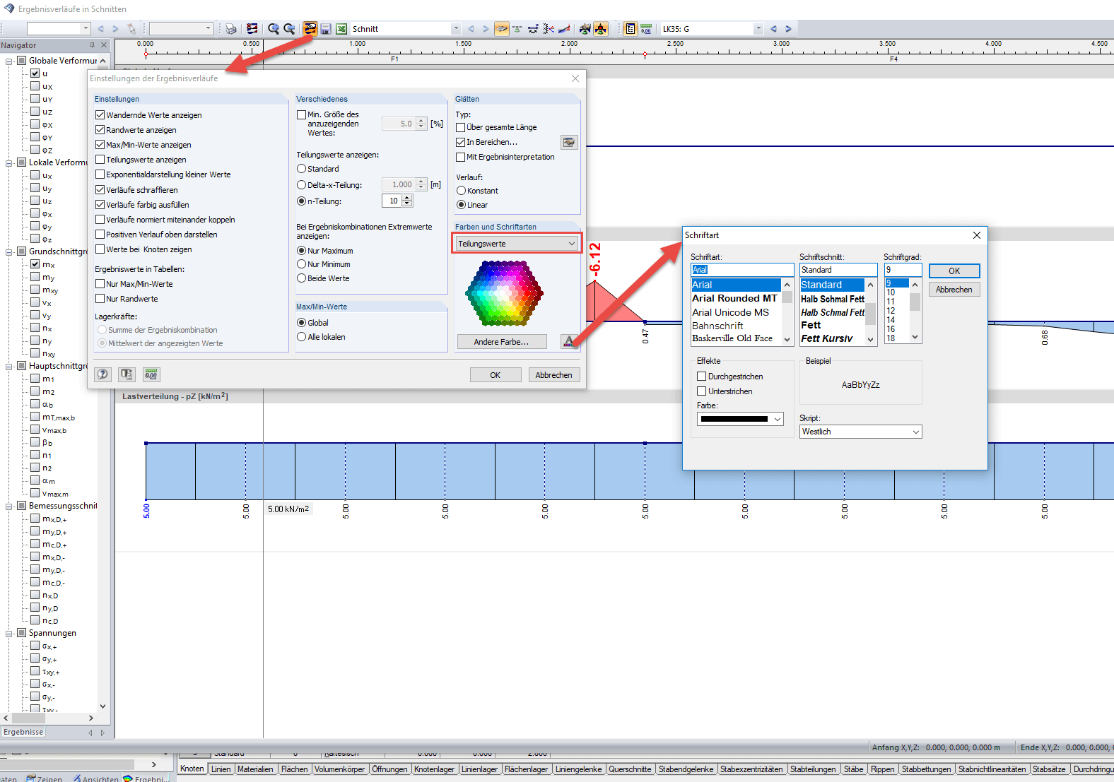 Settings for the result diagrams