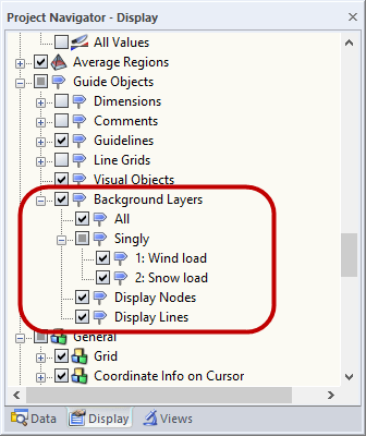 Hide Background layers in the Display Navigator