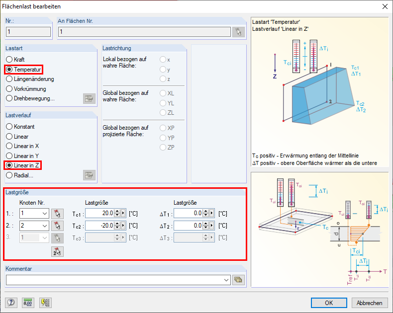 "Dialog Box ""Edit Surface Load"" with Setting of ""Temperature"""