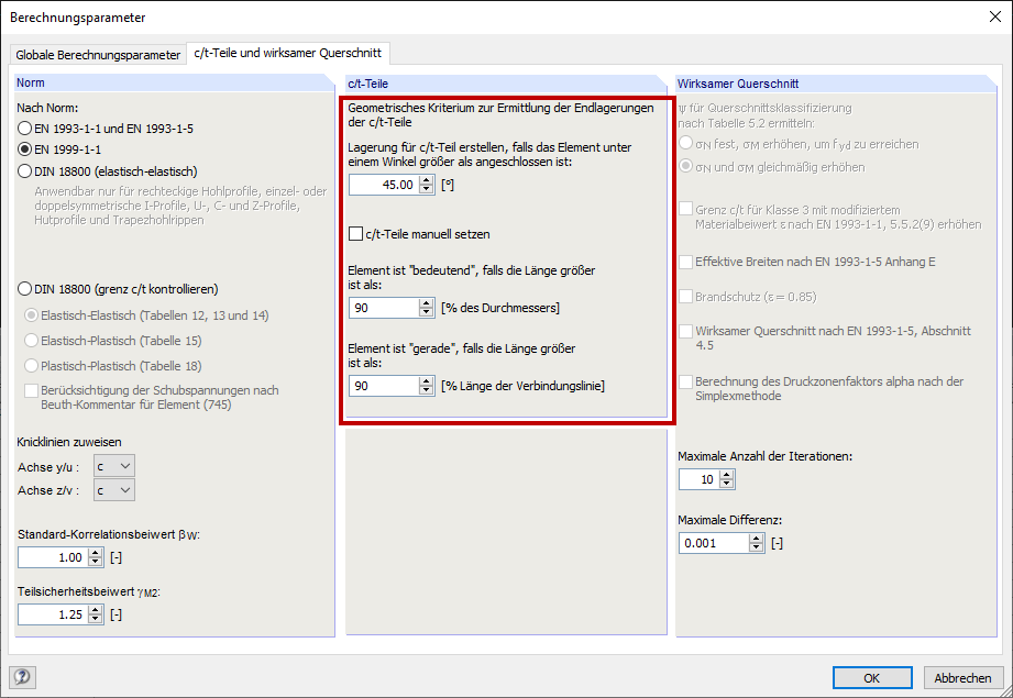 Dialog Box Calculation Parameters, Tab c/t-Parts and Effective Cross-Section