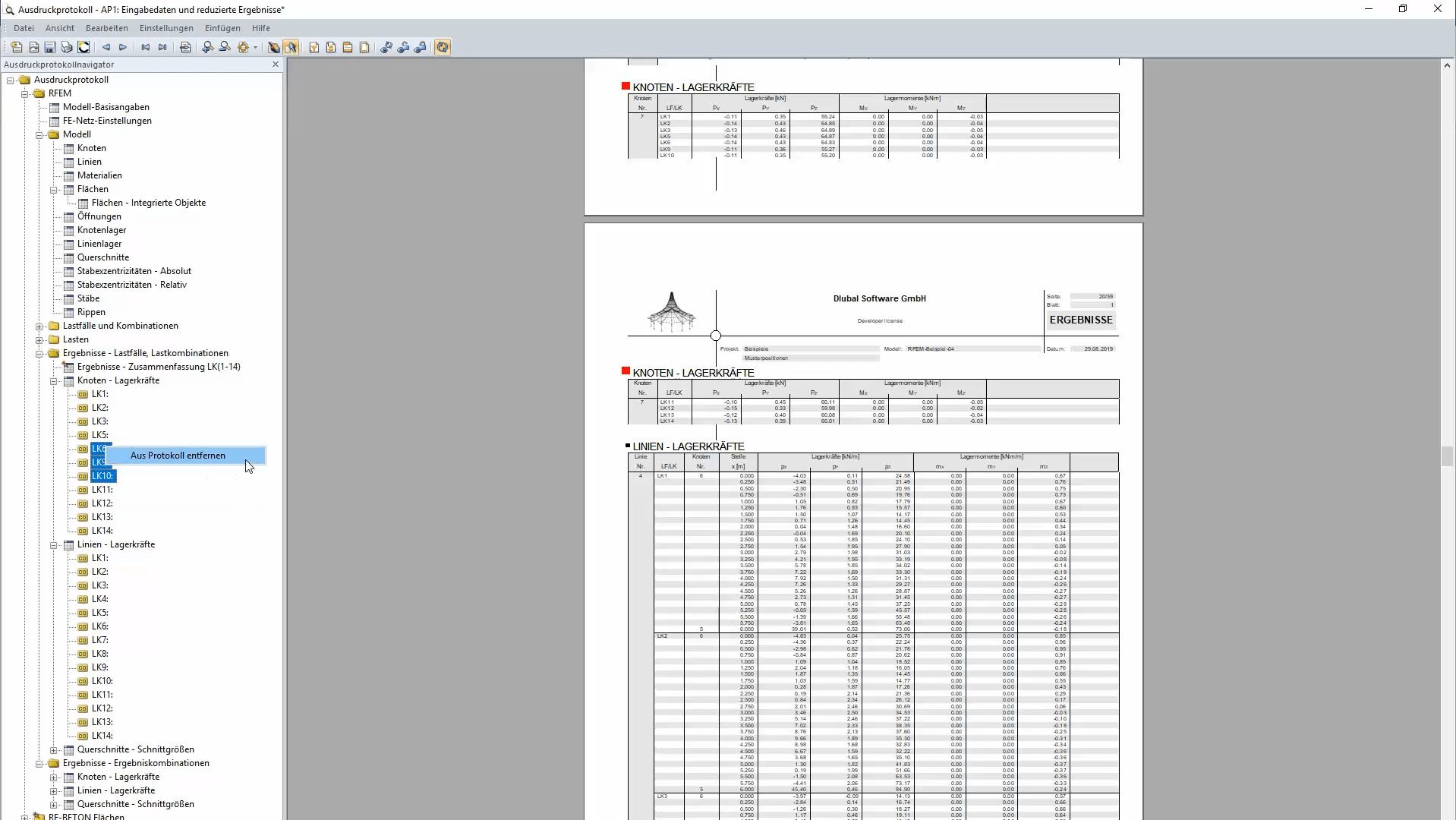 Removing Results of Individual Load Cases from Printout Report