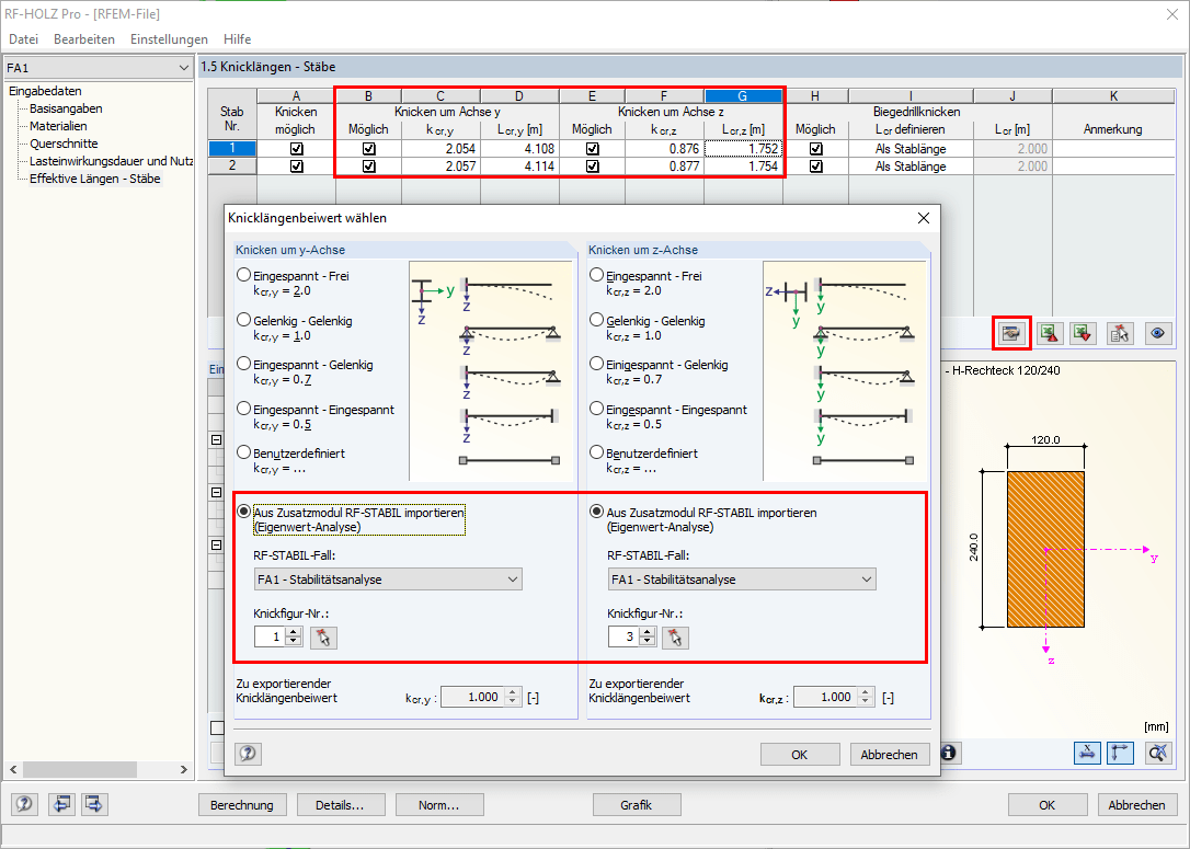 RF-/TIMBER Pro with Dialog Box for Importing Determined Effective Lengths