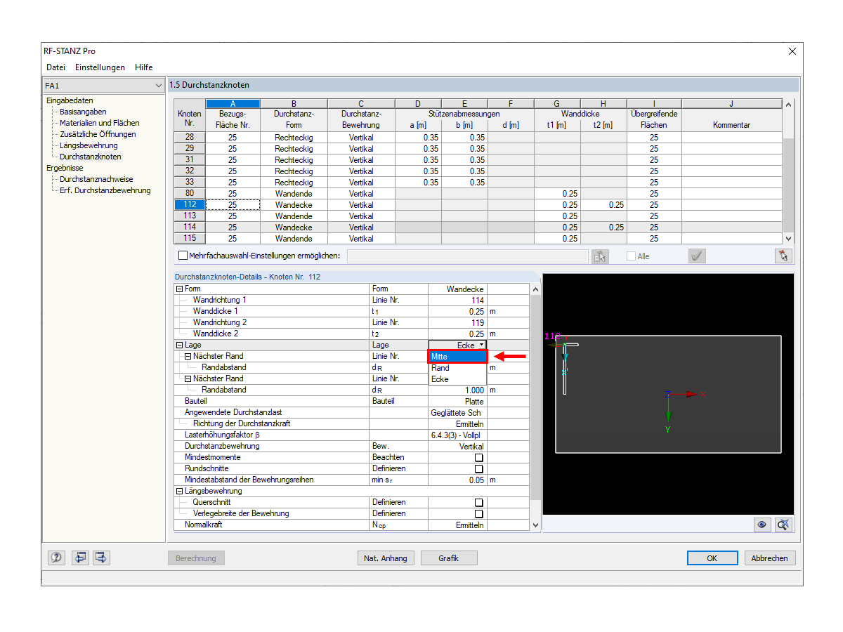 Window 1.5 in RF-PUNCH Pro with Setting of Supports of Wall Corner
