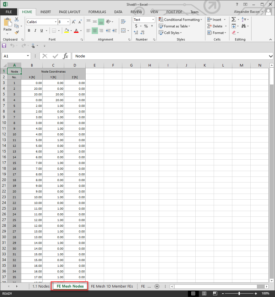Exported FE mesh coordinates in Excel