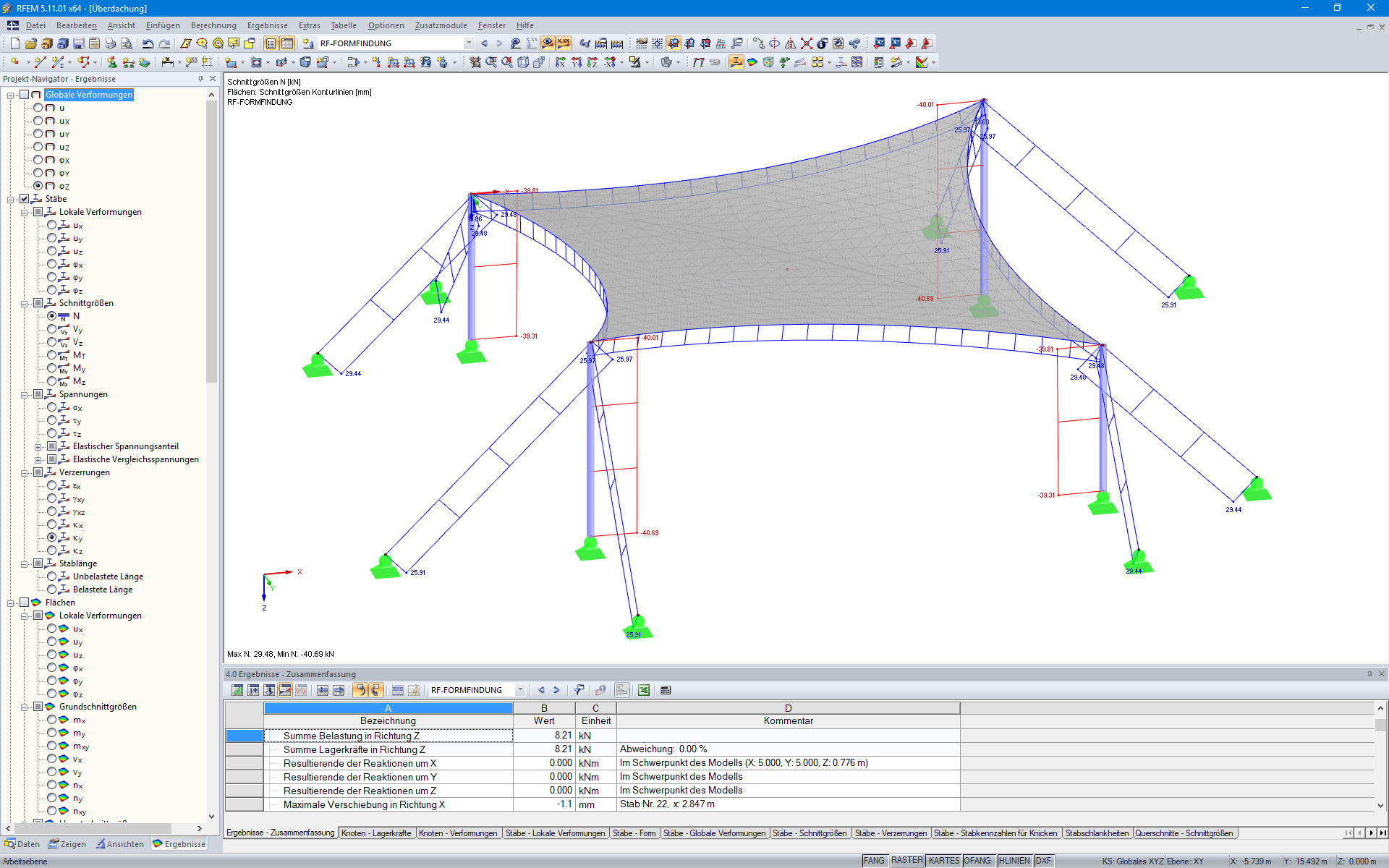 Tension Forces in Cables After Form-Finding in RFEM