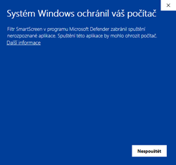 Windows Defender nedovolí spustit aplikaci RX-TIMBER.