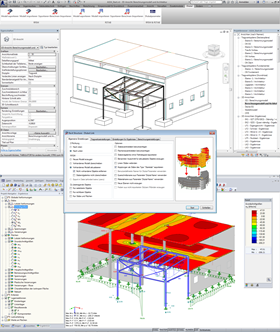 Above: BIM model with integrated structural objects in Autodesk Revit Structure. Center: Control dialog box for transferring the analysis model from Revit Structure to RFEM. Bottom: Calculated analysis model in RFEM