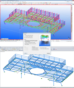 BIM advantage: girder grillage for power plant, 632 members, 344 cross-sections, from Tekla Structures (top). Modeling effort in structural analysis: estimated several hours. Raw model with member and cross-section assignment can be generated from the Tekla model within minutes and transferred to RFEM/RSTAB (below)